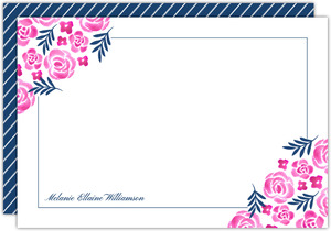 Pink Watercolor Floral Custom Notecard