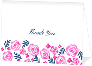 Pink Watercolor Floral Custom Thank You Card