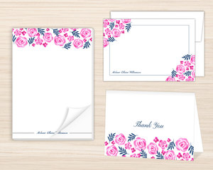 Pink Watercolor Floral Stationery Set