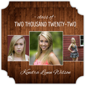 Circle Wood Grain Graduation Announcement