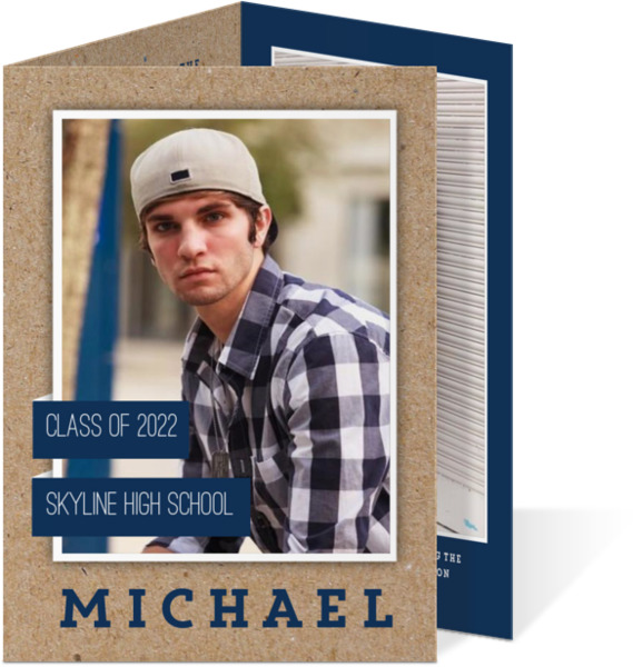 Kraft Colored Tab Graduation Tri-fold Invitation