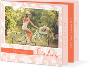 Peach Floral Graduation Announcement