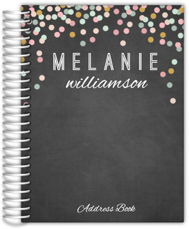 Chalkboard Colorful Confetti Address Book 6x8