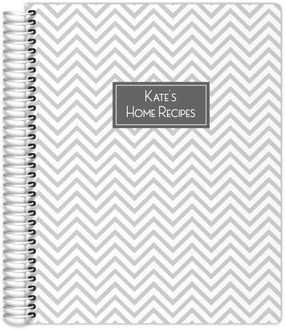 Gray Chevron Pattern Recipe Journal 8.5x11