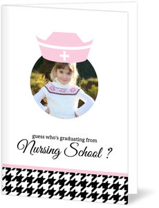 Pink and Black Houndstooth Graduation Announcement
