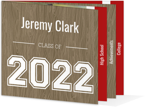 Wood Grain Red Accents Graduation Announcement