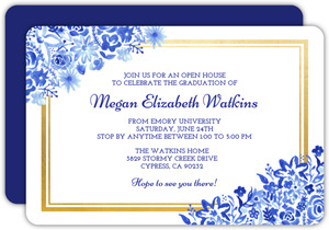 Blue Watercolor Floral Graduation Party Invitation