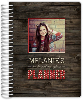 Rustic Woodgrain Marquee Photo Mom Planner