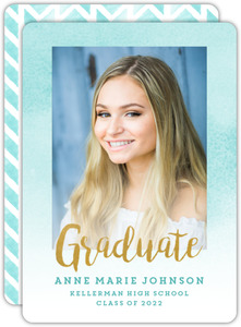 Aqua Watercolor Chevron Graduation Announcement