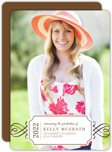 Elegant Brown Frame Photo Graduation Announcement