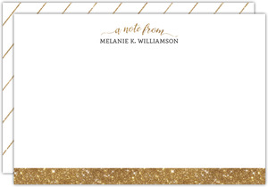 Faux Gold Glitter Custom Notecard