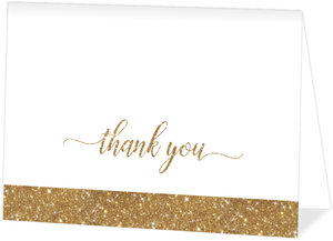Faux Gold Glitter Thank You Card