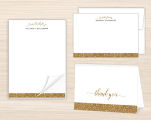 Faux Gold Glitter Stationery Set