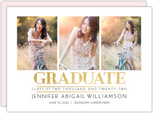 Lined Triple Photo Graduation Announcement