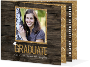 Faux Glitter and Wood Law School Graduation Announcement