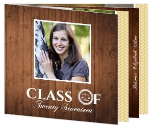Gold and Wood Grain Law School Graduation Announcement