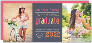 Gray and Pink Graduation Invitation