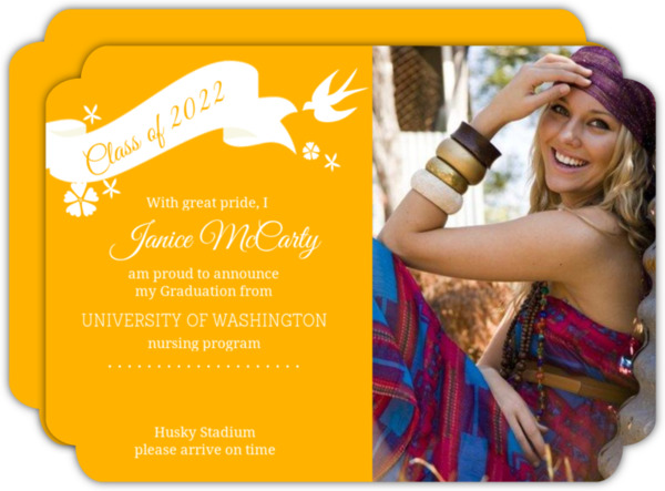 Purple Whimsical Birds and Florals Graduation Announcement