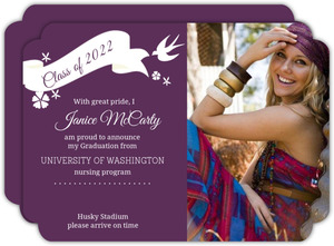 Purple Whimsical Birds and Florals Graduation Announcement