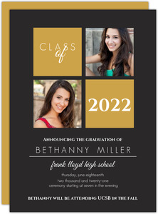 Gold and Gray Graduation Announcement