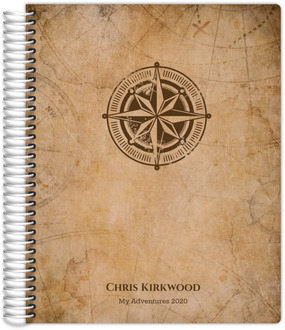 Vintage Compass Map Travel Journal 8.5x11