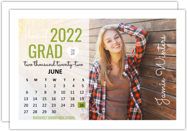 Bold Typography Calendar Graduation Announcement