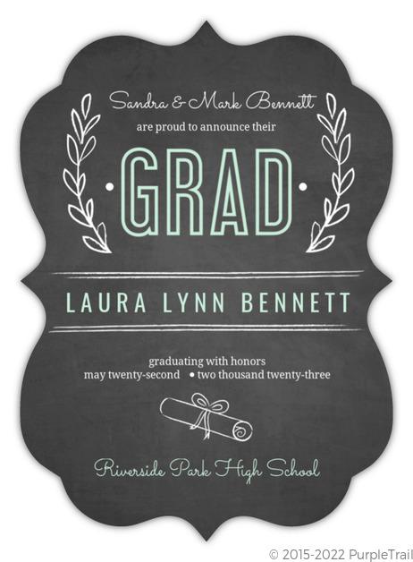 chalkboard mint green floral graduation announcement graduation