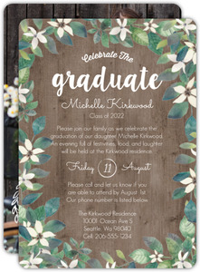 Delicate White Flower and Wood Graduation Invitation