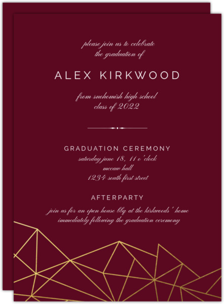 Modern Geometric Foil Graduation Invitation