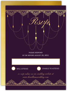 Royal Purple & Faux Gold Wedding Response Card