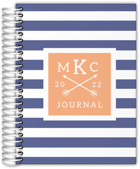Modern Stripes Monogram Custom Journal 6x8