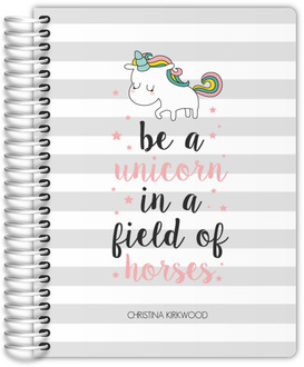 Stripes Unicorn Quote Custom Journal 6x8