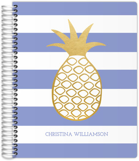 Faux Gold Pineapple Stripe Journal 8.5x11