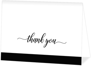 Simple Black Script Thank You Card