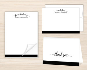 Simple Black Script Stationery Set