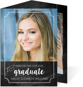Chalkboard Wreath Trifold Graduation Announcement