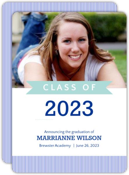Turquoise Banner Graduation Announcement
