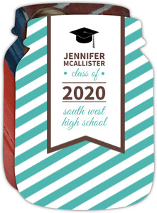 Graduation Announcement Turquoise Stripes
