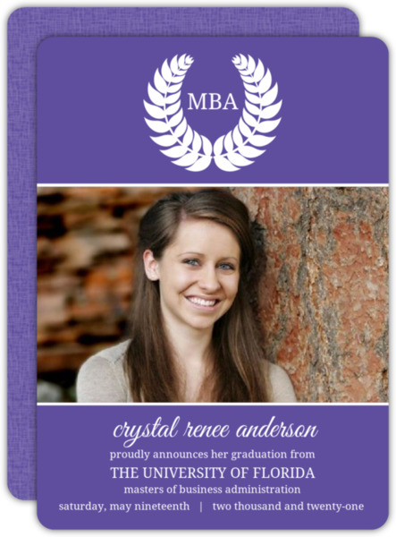 Gray Leaf Monogram MBA Graduation Announcement