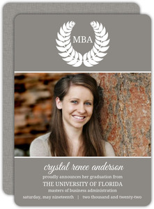 Gray Leaf Monogram MBA Graduation Announcement