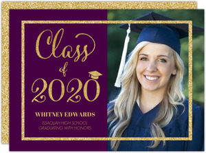 Violet & Faux Gold Glitter Graduation Photo Announcement