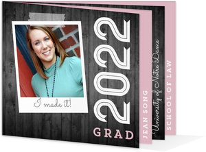 Gray Woodgrain and Pink Graduation Invitation