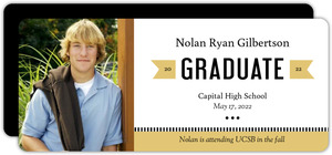 Modern Gold Banner Graduation Announcement