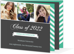 Charcoal and Teal Graduation Announcement