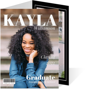 Modern Black  White Magazine Graduation Invitation