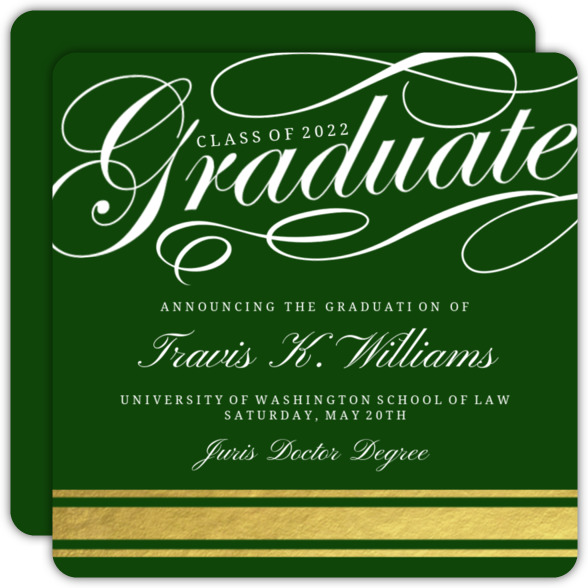 Fancy Graduate Gold Foil Law School Graduation