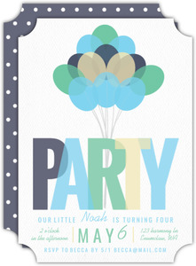 Playful Blue Balloon Birthday Party Invitation