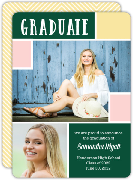 Modern Color Block Graduation Announcement