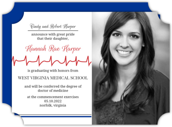 Red Heartbeat Line Graduation Announcement