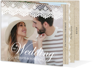 Vintage Burlap Lace Wedding Booklet Invitation